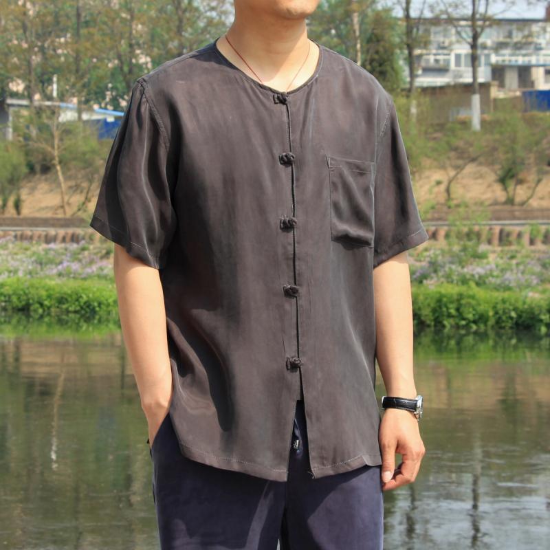 中国风男式重磅真丝大码短袖衬衫加肥蚕丝上衣宽松铜氨丝半袖唐装