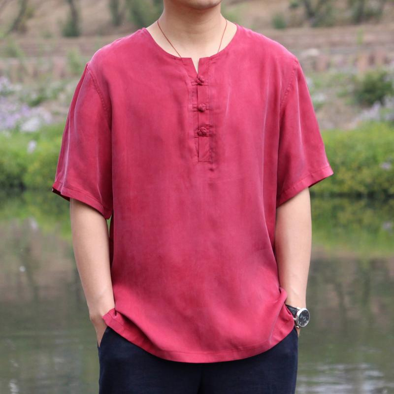 Mens large silk half sleeve top loose Chinese coil button silk Pullover copper ammonia short sleeve Tang style T-shirt