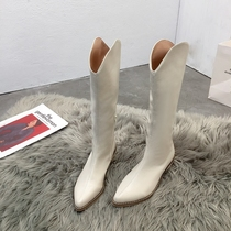 WCZ01DZ9他她冬专柜同款布面尖头瘦瘦靴粗高跟女中靴Tata