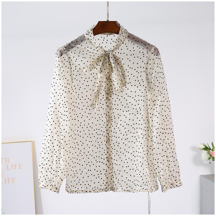 【来系列】品牌折扣女装2019秋装 复古蝴蝶结圆点长袖衬衫9130