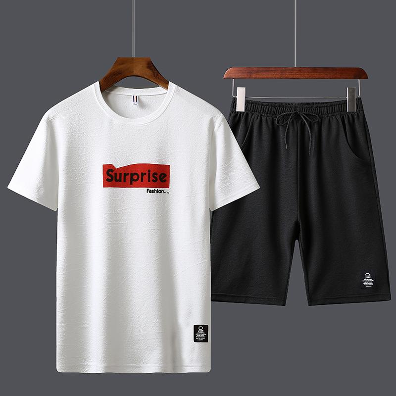 夏装2020新款运动套装男韩版休闲短袖短裤两件初中生精神帅气跑步