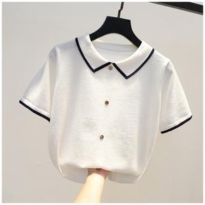 撞色翻领针织衫女短袖韩版夏季新品简约时尚百搭修身T恤气质上衣
