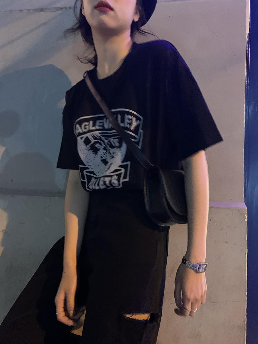 2020年新款体恤 韩版宽松原宿风纯棉印花黑色T恤女夏短袖上衣潮图片