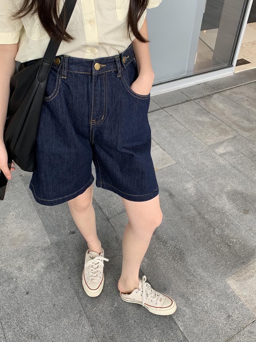 馨帮帮 五分牛仔裤宽松显瘦显高百搭深蓝色高腰阔腿牛仔短裤女夏