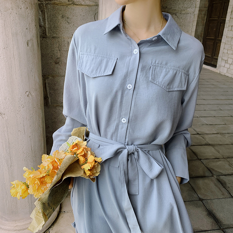 2021 autumn new fat mm solid color long sleeve Lapel single breasted shirt loose dress