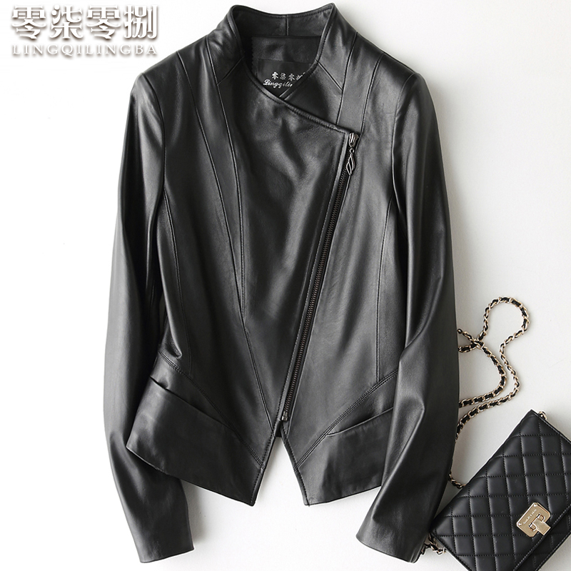 Zero seven eight leather leather women's short motorcycle jacket 2020 spring new Haining sheepskin slim coat
