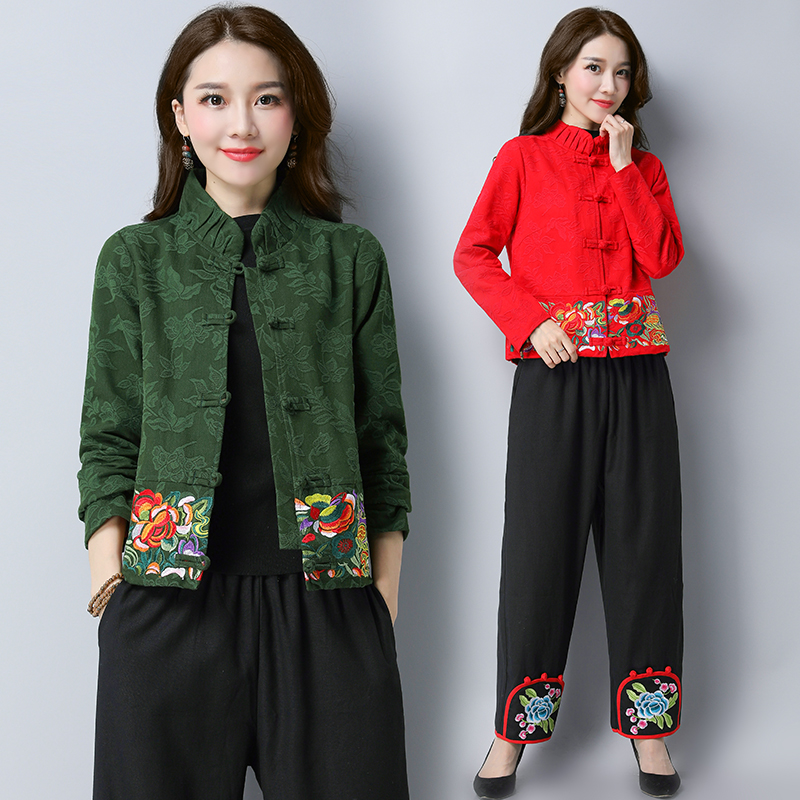 6906#2021 autumn new large womens dress Chinese style cotton linen jacquard retro National Style Embroidered short coat