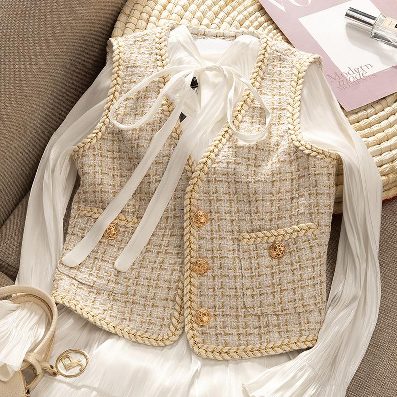 10月21日最新优惠Ruipe大码背心百搭马夹两件套装气质坎肩短款外套女款小香风马甲
