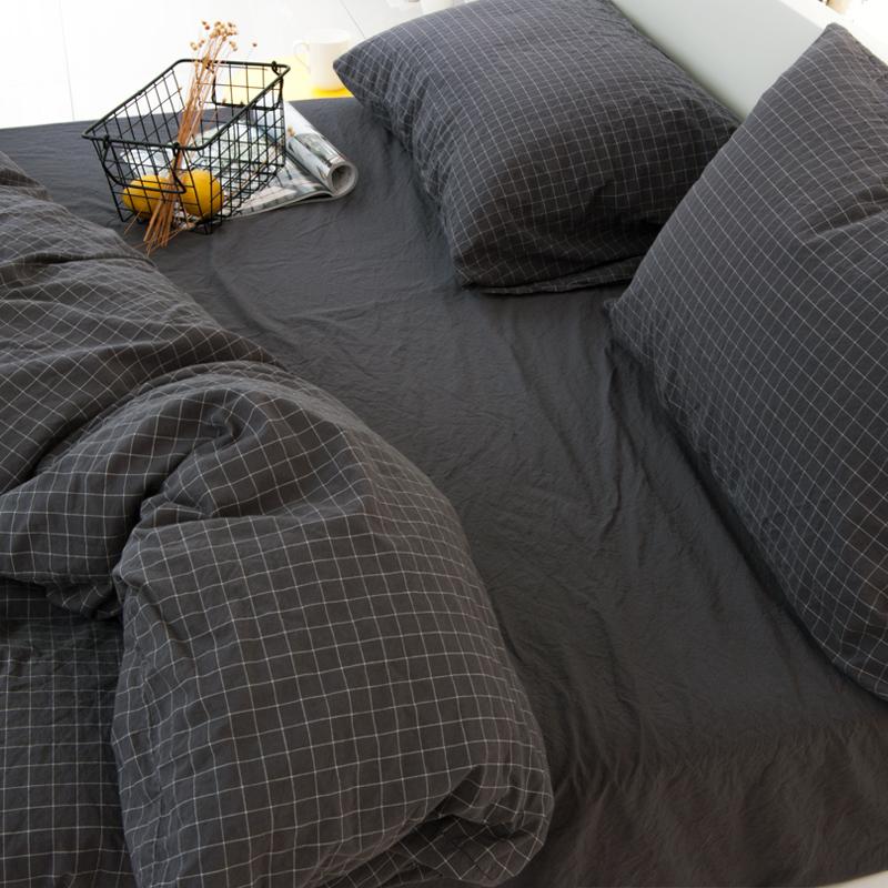 床上四件套全棉纯棉ins床品套件三 格子被套北欧风用品水洗棉床单