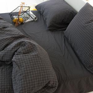 床上四件套全棉纯棉三件套夏4简约现代格子被套ins北欧水洗棉床单