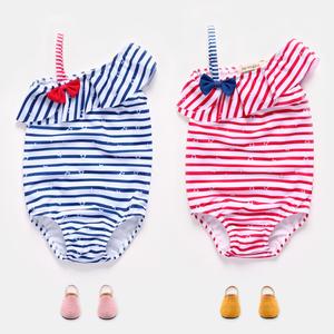 女童條紋連體褲泳衣2017新款夏裝兒童可愛蝴蝶結時尚比基尼泳裝