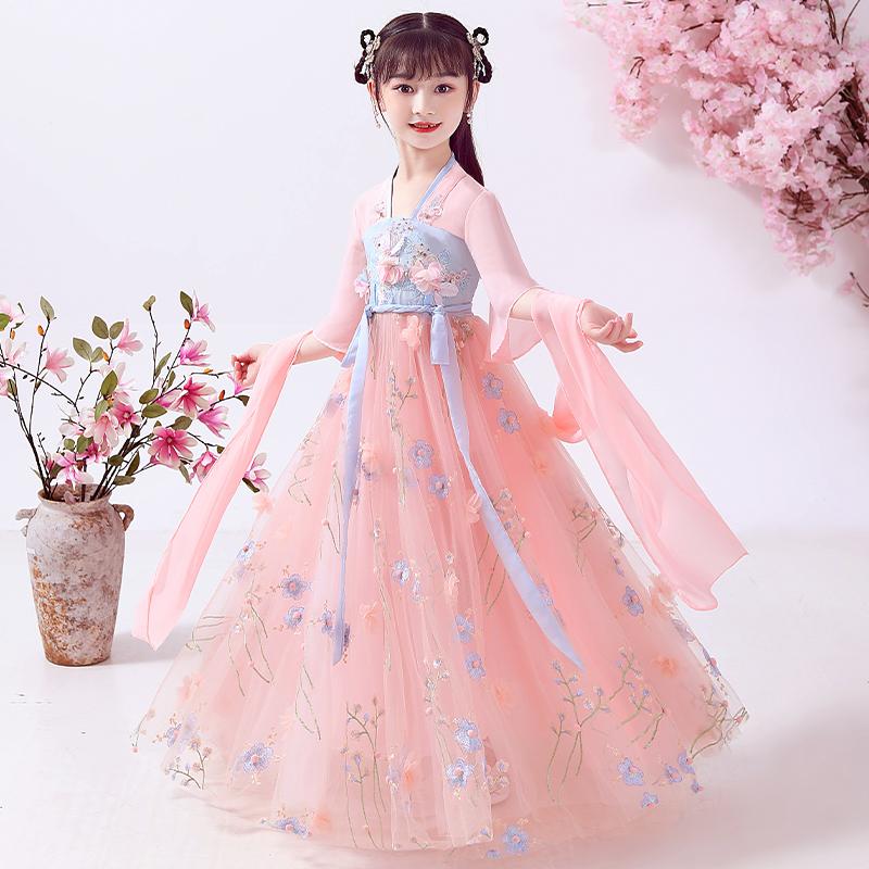 女童汉服连衣裙儿童装公主裙春装2021新款春款夏装小女孩裙子夏季98元