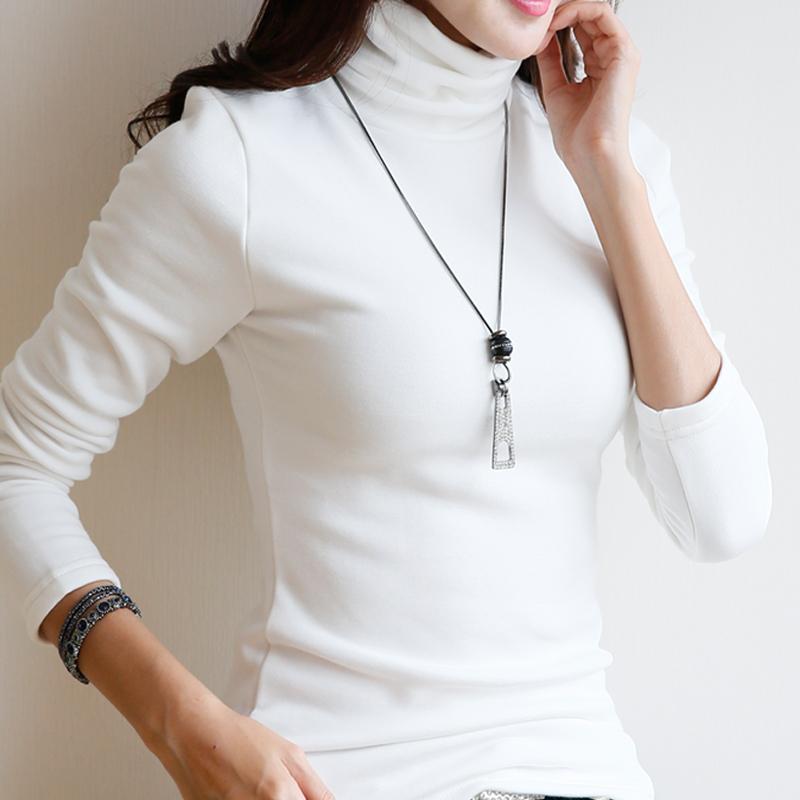 秋冬新品纯色加绒加厚棉高领打底衫女装显瘦修身长袖t恤女款上衣