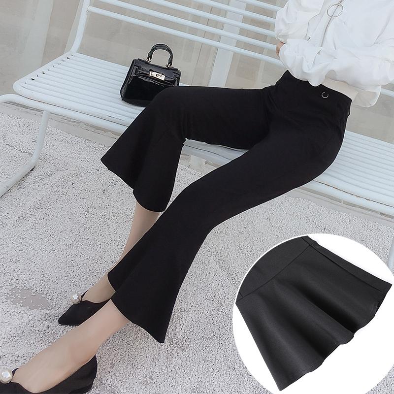 Spot shooting high waist fishtail pants womens Ruffle spring Pants Black trumpet pants loose pants 7036#