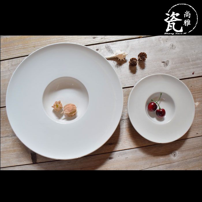Simple white tableware ceramic plate straw hat plate pasta plate Western food plate soup plate deep dish flying saucer plate household