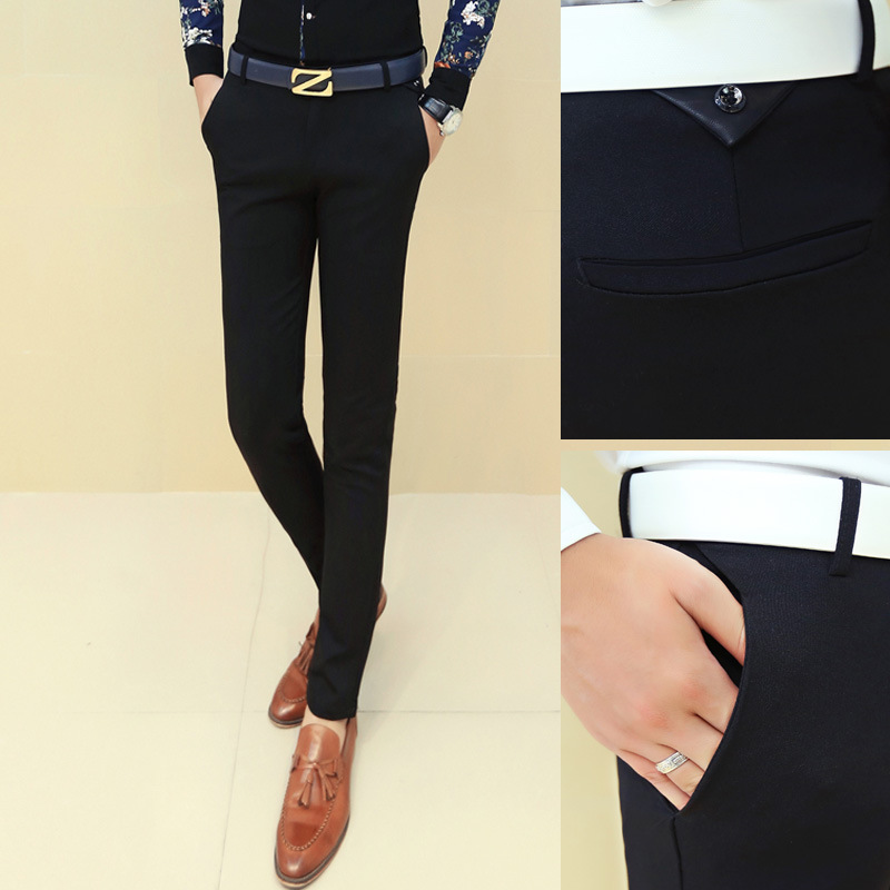 Spring mens trousers slim fit small foot business casual pants tight youth professional black elastic Formal Pants