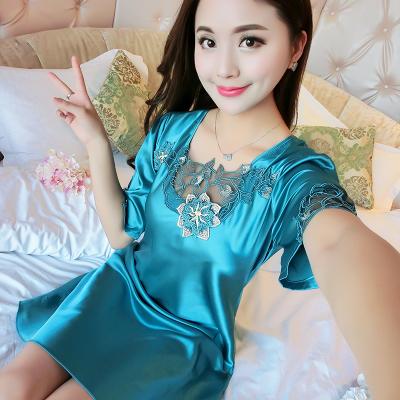 新款商城购物网红款潮韩版性感睡衣夏冰丝睡裙宽松薄显瘦家居服女