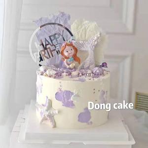 烘焙蛋糕装饰插牌摆件美人鱼深海系列摆件鱼尾插牌模具甜品台装扮