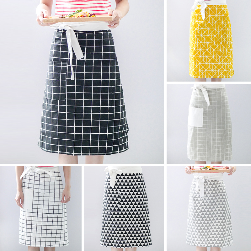 Nordic style art cotton fabric home skirt CHEF APRON restaurant kitchen oil proof clean apron