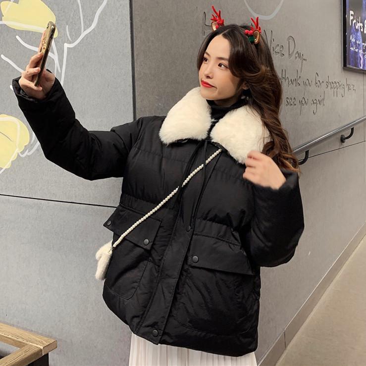 實拍冬季新款可愛系帶毛毛領加厚保暖長袖棉衣棉服外套女