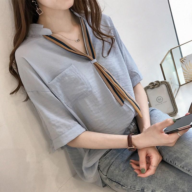 短袖衬衫女夏季韩范宽松大码雪纺衫条纹V领带半袖学生上衣打底衫