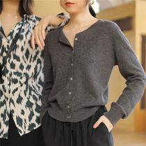 春秋韩版洋气短款复古文艺宽松慵懒风网红薄款羊毛针织开衫女毛衣