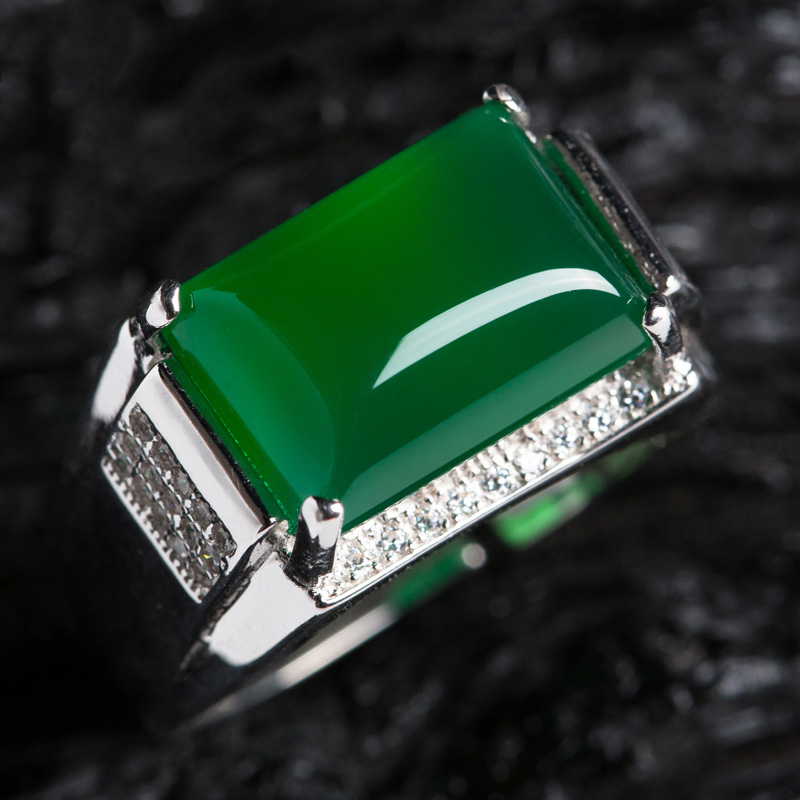 Fashion natural agate ring male lady chalcedony grandmother emerald ring living RING 925 silver couple