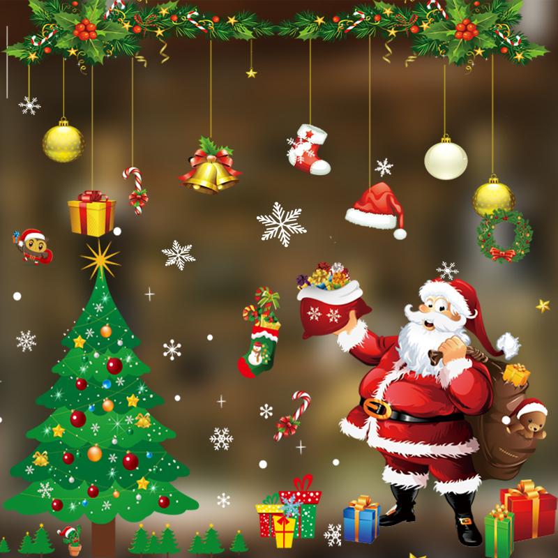 春节装饰品窗贴商场店铺玻璃橱窗静电贴画新年圣诞树老雪人创意布