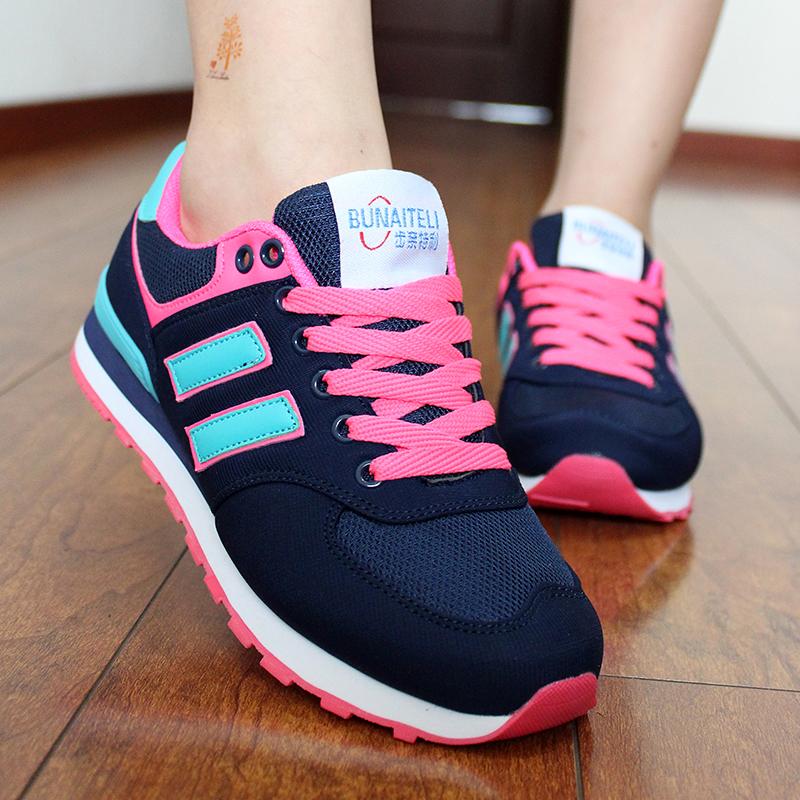 Korean version of all match sports shoes, womens men flat bottom leisure spring air permeability net surface foam bottom student running shoes