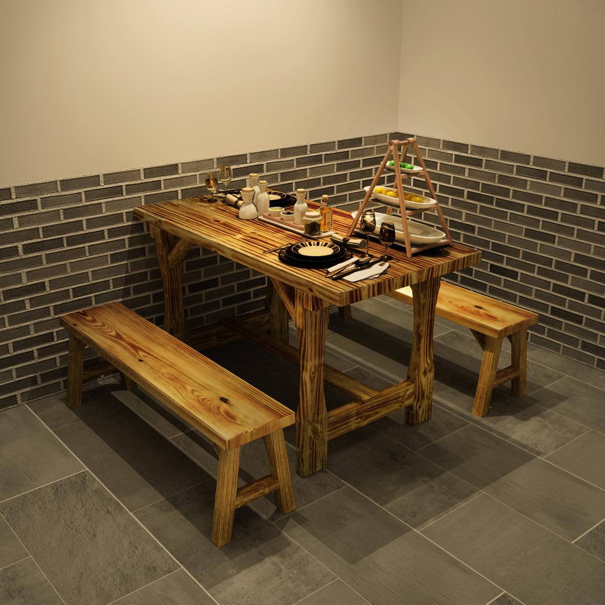 加厚饭店实木餐桌小吃店大排档面馆餐桌椅子快餐店桌子椅子组合