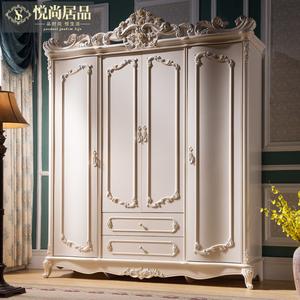 悦尚居品 欧式衣柜实木 三门四门 白色法式衣橱 2米 雕花 3门4门