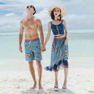 2019年新款蜜月泳衣套装三件套品牌2018情侣装女深蓝沙滩夏季泳装