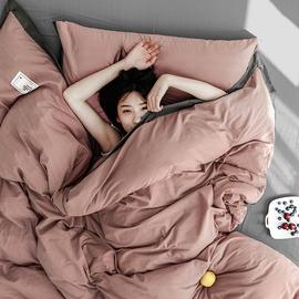 简约双拼全棉水洗棉床上四件套 北欧纯色被套床单床品床笠款套件图片