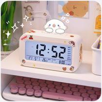 电子闹钟学生用智能简约小女生可爱卧室网红桌面静音儿童床头时钟