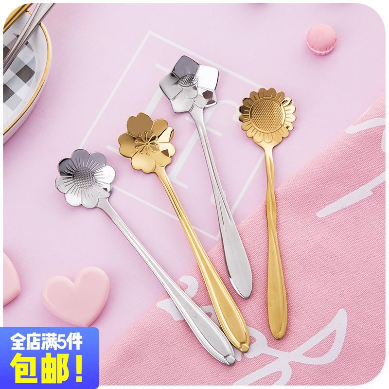 Девушка сердце японский цветение вишни кофе ложка ребенок не нержавеющая сталь tsp творческий чашка ложка милый десерт молочный чай размешивать ложка