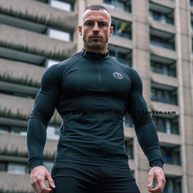 代购One Athletic  MTech Run 1/4 Zip男子运动休闲拉链长袖T恤