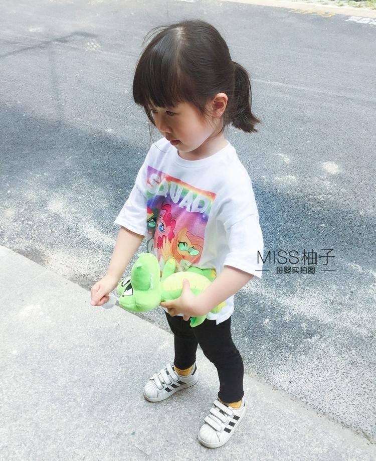 包邮18夏英国NEXT儿童小女孩全棉白色小马宝莉pony短袖T恤母女装