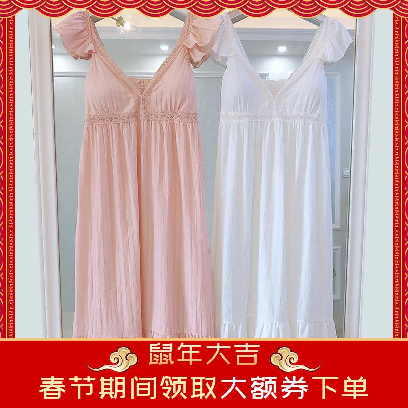 韩国小飞袖吊带睡裙女夏季带胸垫日系小性感韩版无袖睡衣长裙薄款
