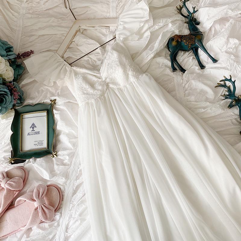 小飞袖带胸垫睡衣女夏蕾丝网纱性感吊带纯棉宫廷公主风加长睡裙夏