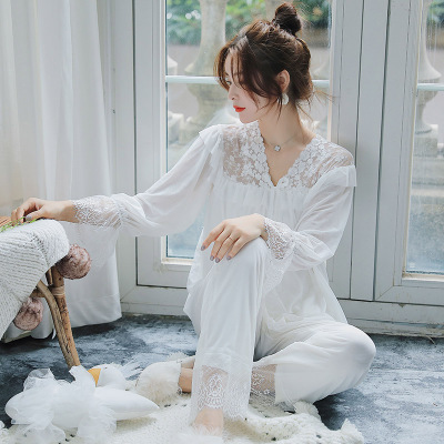 春款韩国睡衣秋季网纱蕾丝花边小清新甜美少女纯棉公主家居服套装