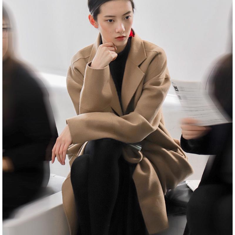 CiCi项蝶婧明星同款双面羊毛大衣女过膝中长款呢子外套2020秋冬女