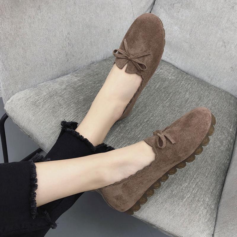 浅口软底豆豆鞋女学生韩版单鞋平底懒人奶奶鞋春秋妈妈鞋布鞋14