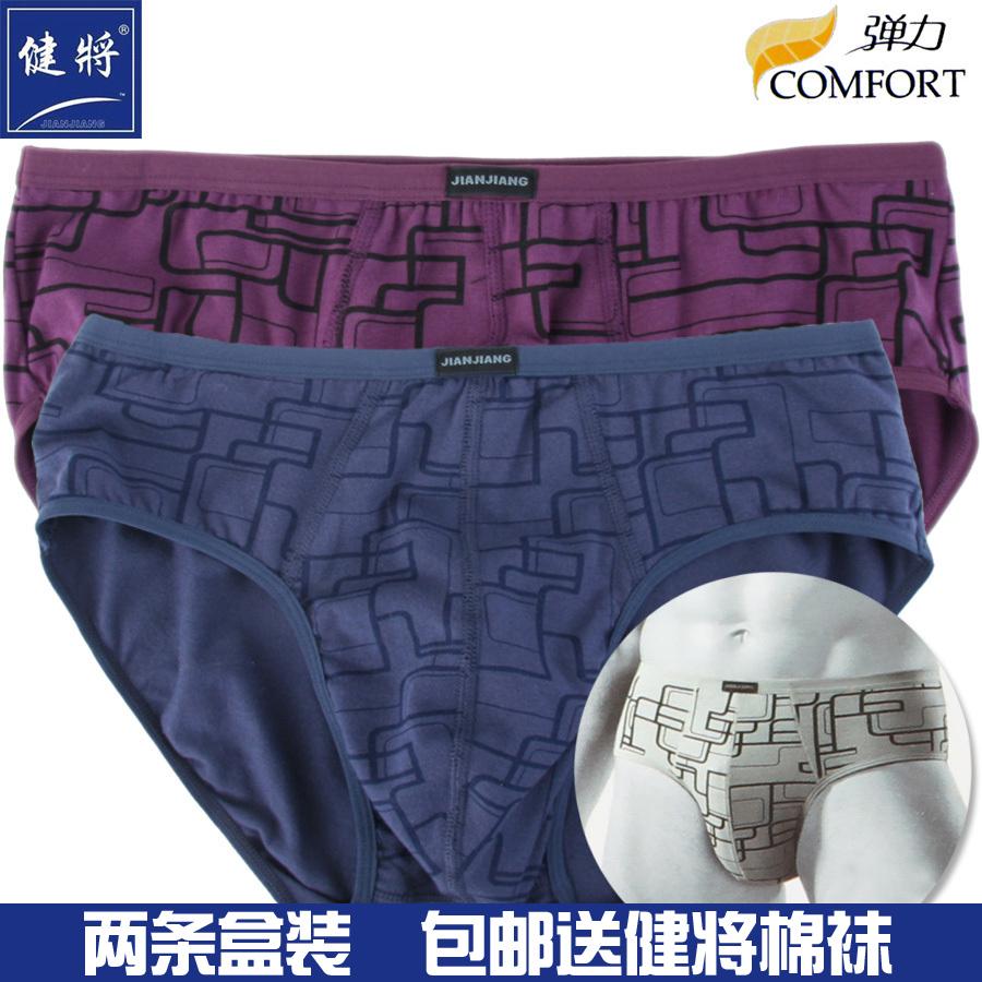 健将内裤2条装 男士三角内裤 弹力棉 舒适透气 中腰男式内裤88852
