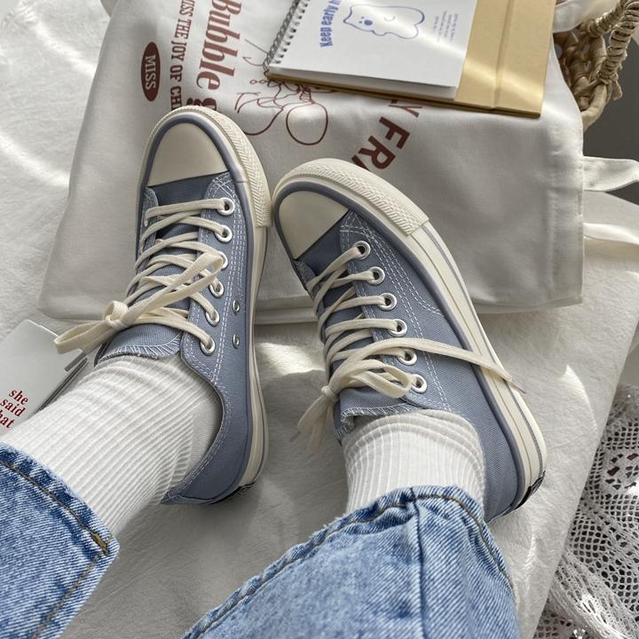 泡面小希鞋子洋气奶油蓝色低帮1970s帆布鞋ins超火春款冈山板鞋图片