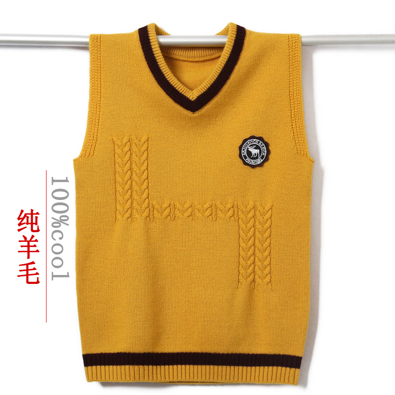 Mens handsome sleeveless sweater 100% pure wool vest trend jacket for students youth waistcoat for boys