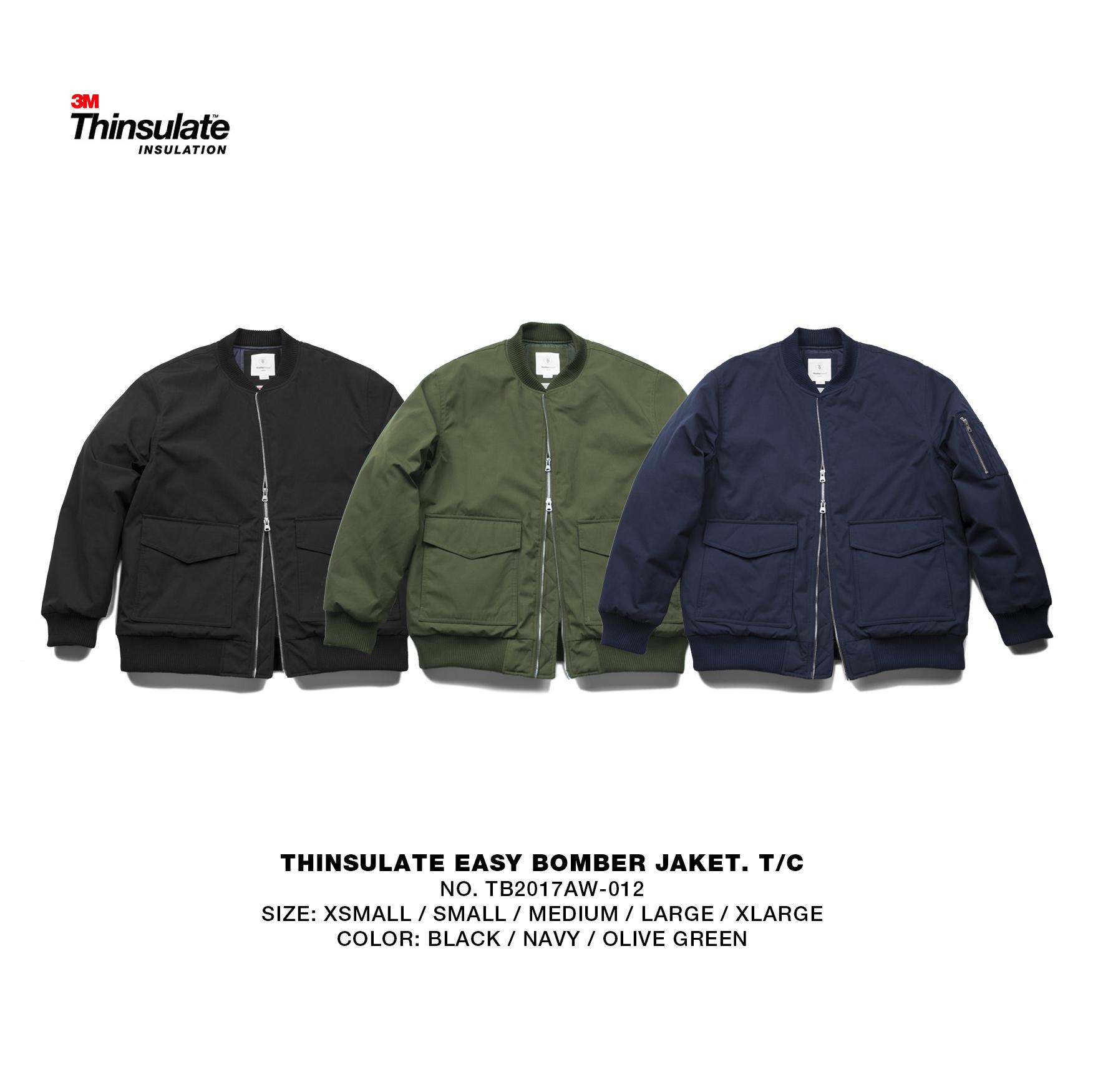 TBALLER 17AW 012 THINSULATE MA1新雪丽宽松空军夹克棉衣bomber