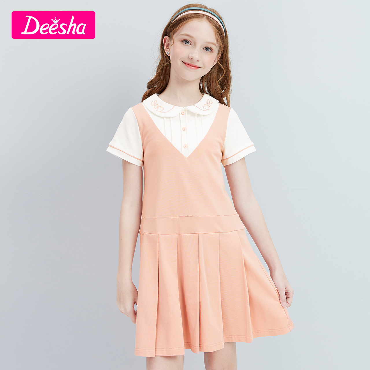 Desha children's clothing girls skirt 2021 summer new big children children girls foreign style embroidered doll collar dress