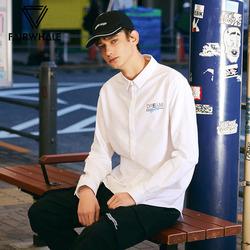 马克华菲衬衫男士潮2019春装新款时尚休闲款字母绣花白色衬衣上装