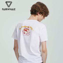 IP合作猪系列马克华菲短袖T恤男士19夏季新款潮流撞色猪刺绣上衣
