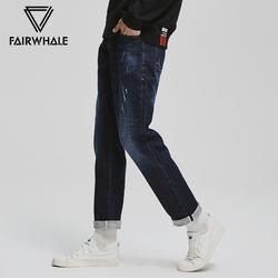 马克华菲牛仔裤男士2018秋冬新款潮流青年韩版直筒水洗小脚裤